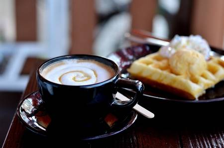 coffee served and waffle